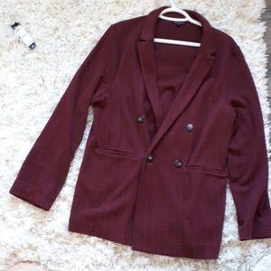 Topshop Dark Red checked blazer